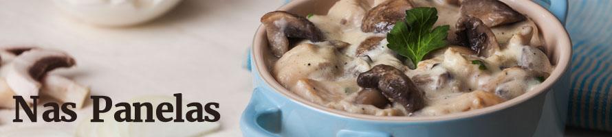 Estrogonofe de cogumelos Paris com batata doce